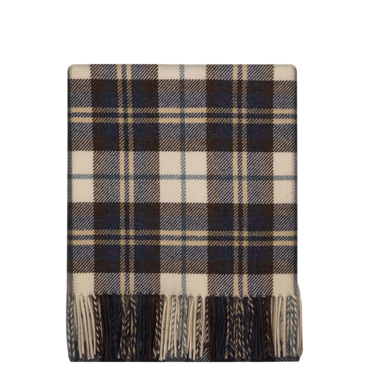 Fleur Bluestone Check Wool Blanket