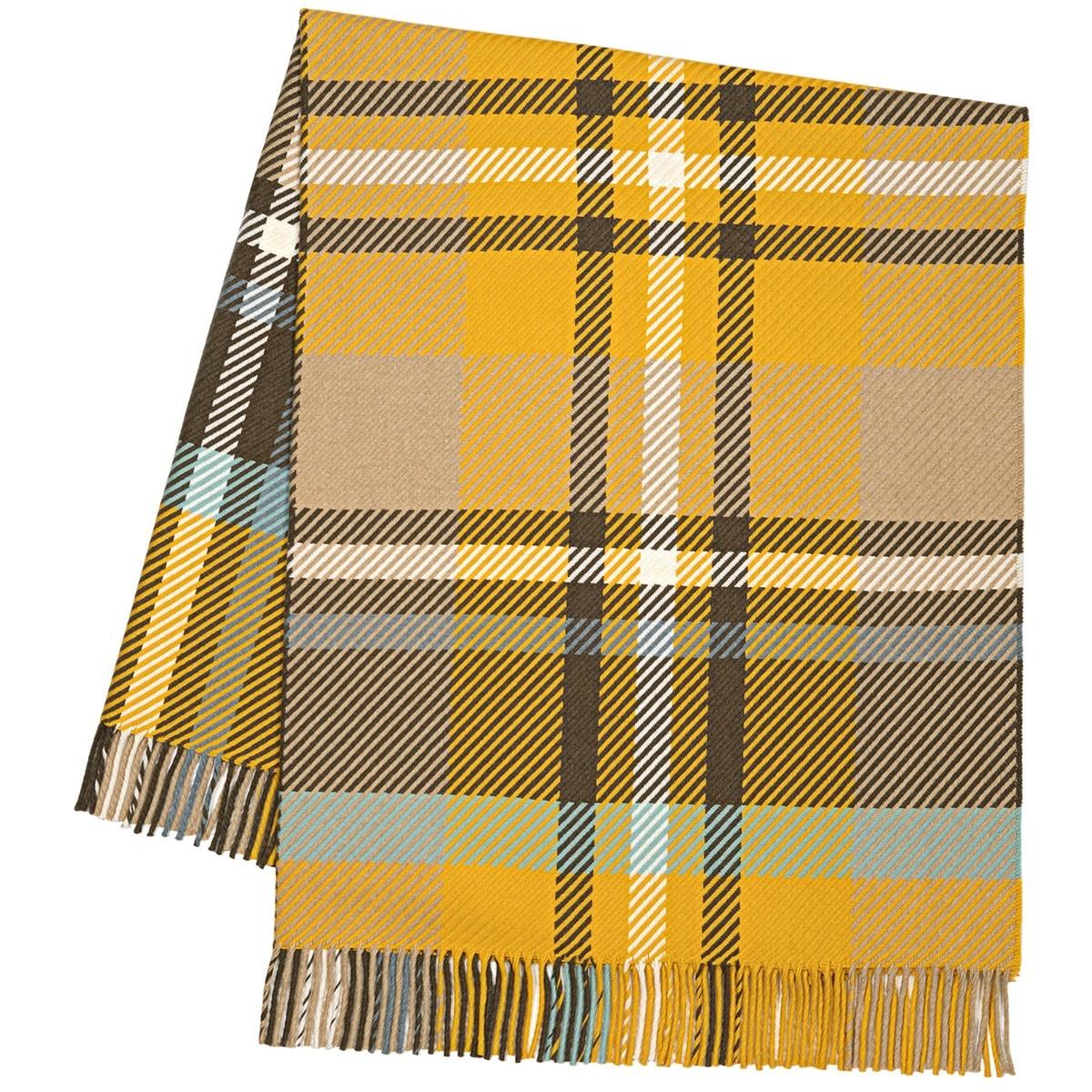 Darcy Stewart Ochre Tartan Luxury Superfine Wool Throw