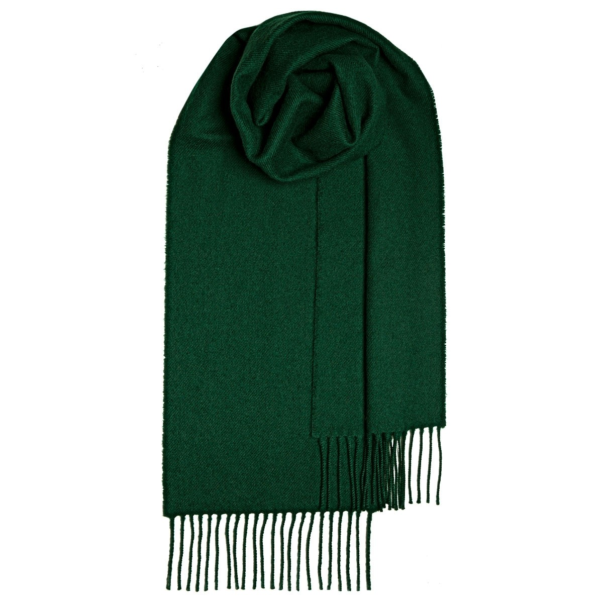 Bottle Green Plain Coloured Lambswool Scarf