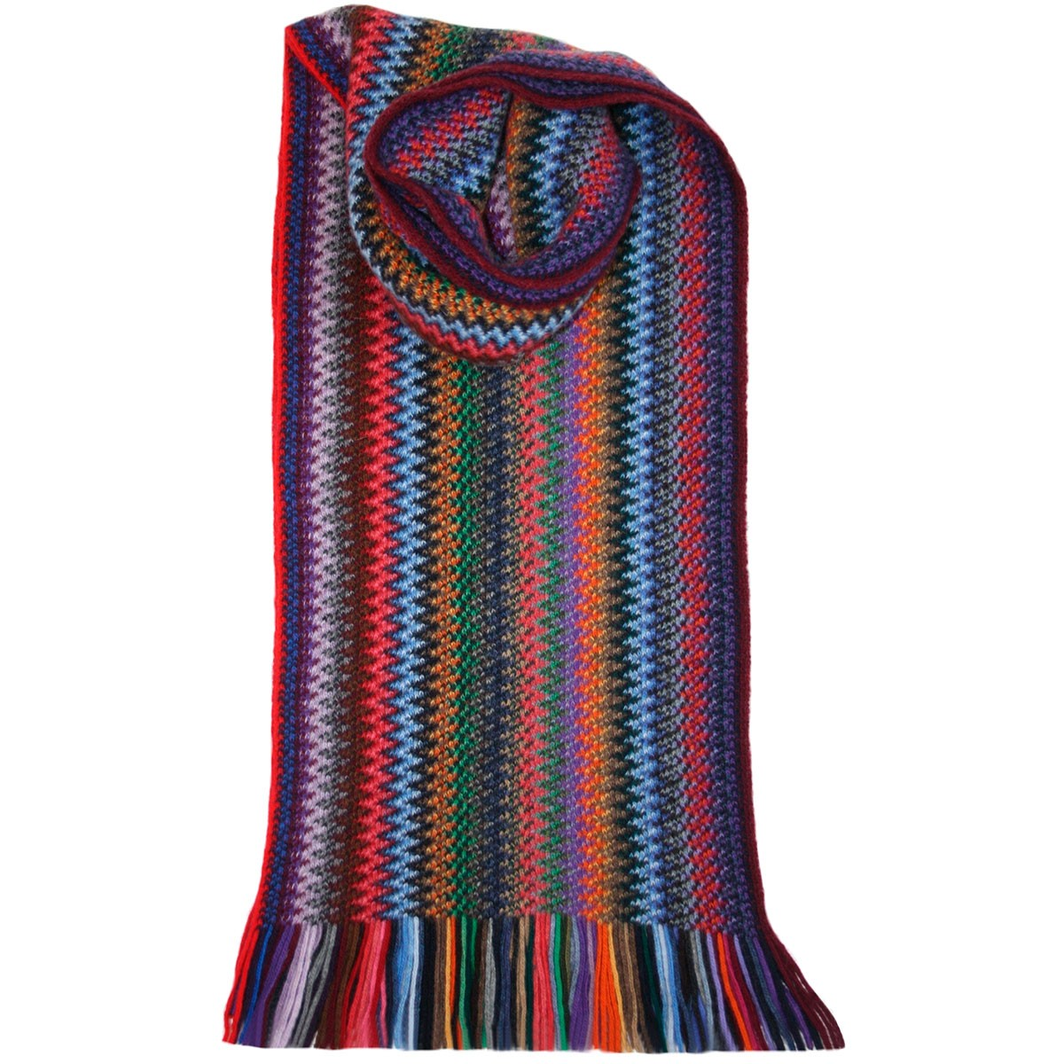 Tropic Zig Zag Wool/Angora Knitted Scarf - Front