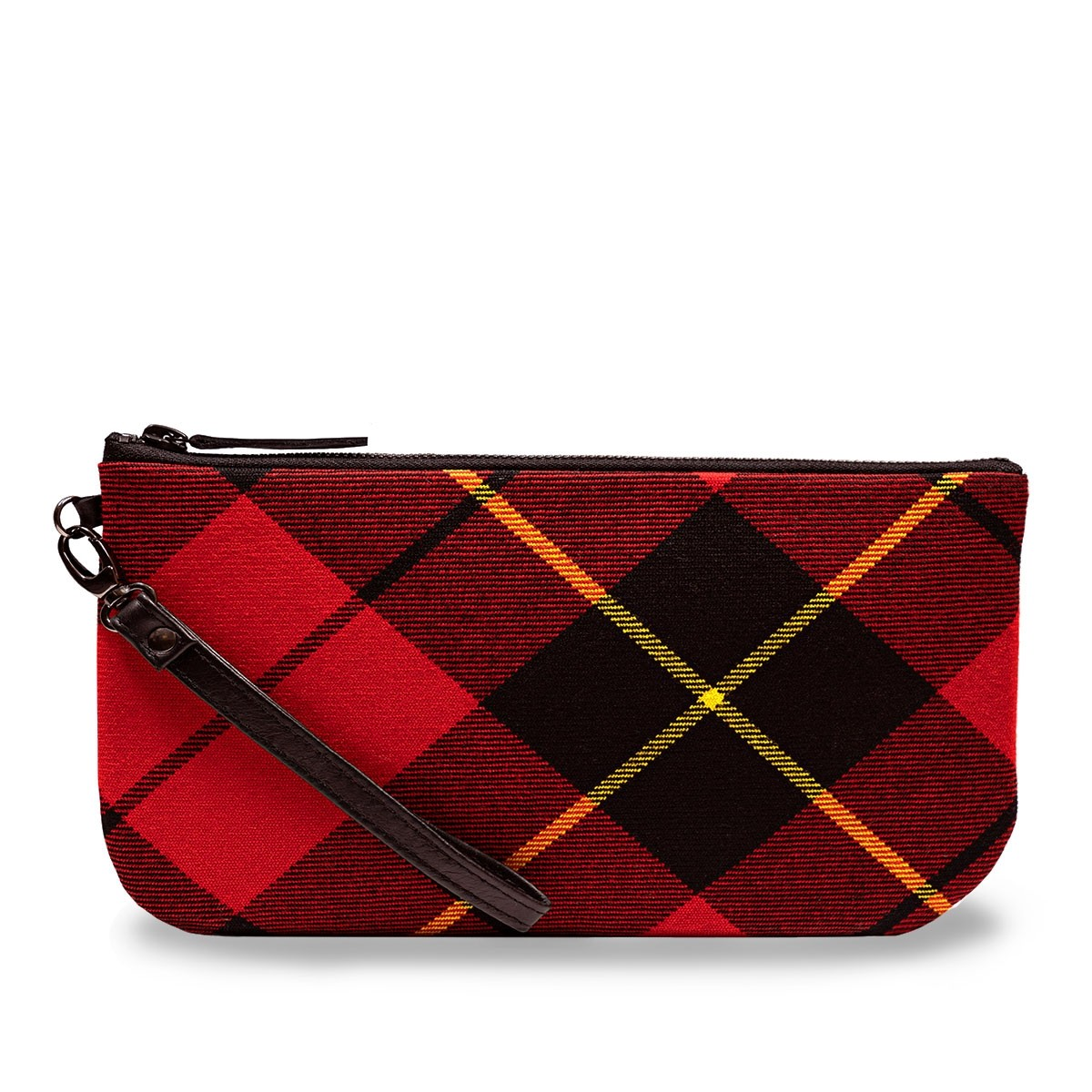 Wallace Modern Tartan & Black Leather Clutch Bag