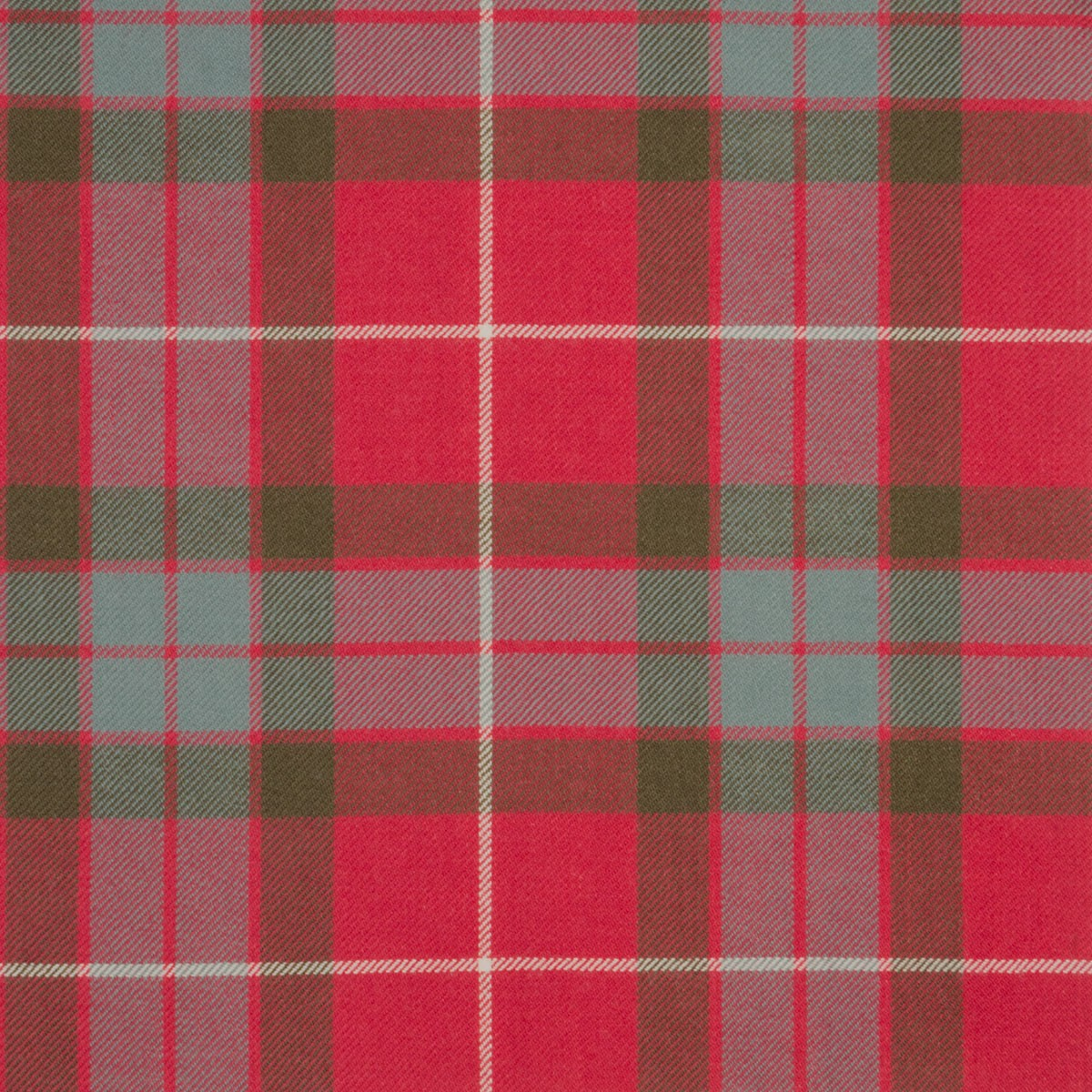 Fraser Red Weathered Light Weight Tartan Fabric-Front