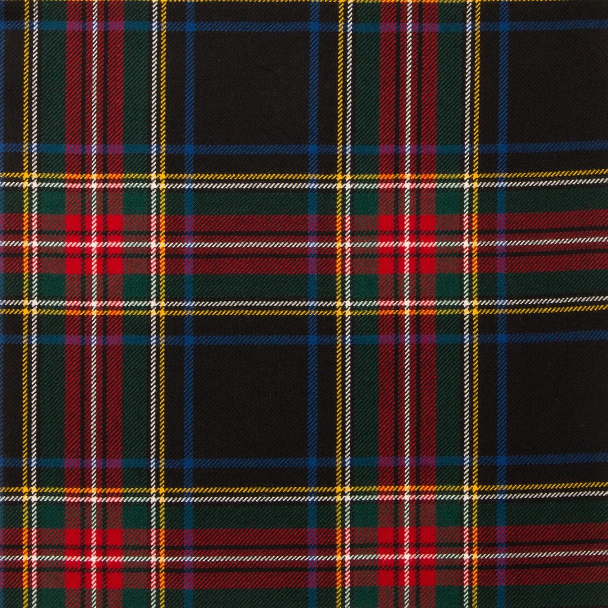 Stewart Black Modern Light Weight Tartan Fabric-Front