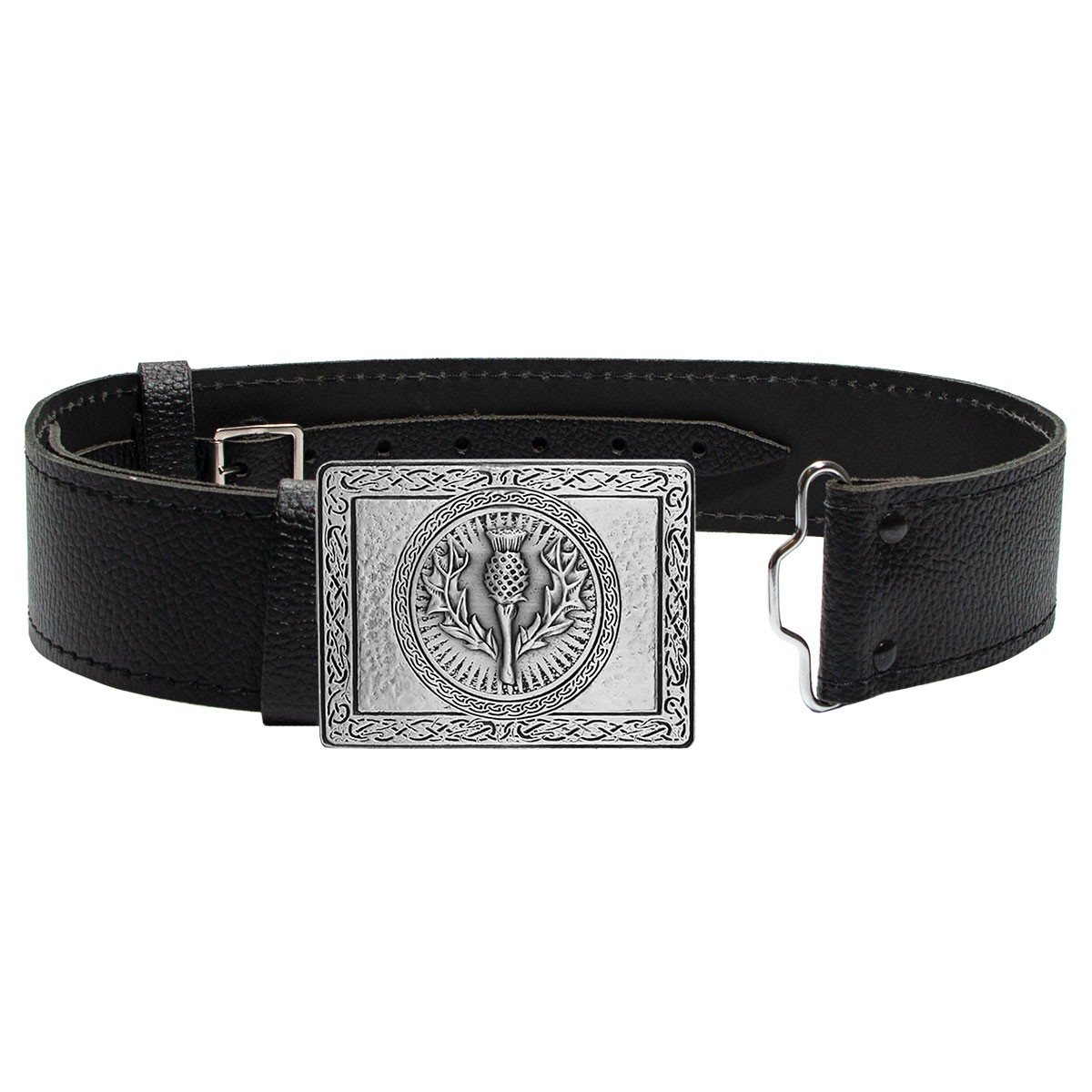 Thistle in Pewter Buckle and Leather Belt
