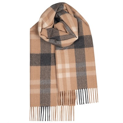 Bailey Camel Asymmetric Large Lambswool Scarf