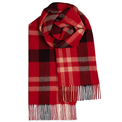 Bailey Red Asymmetric Large Lambswool Scarf