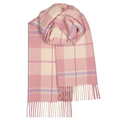 Bailey Pink White Check Large Lambswool Scarf