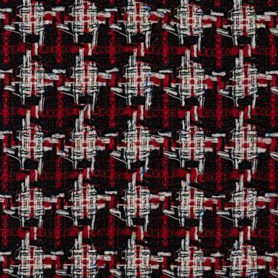 Ruby/Black Check Wool Tweed Fabric