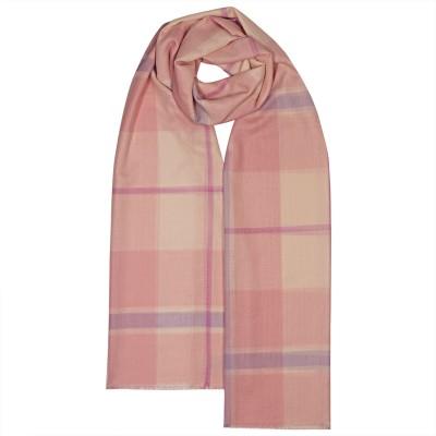 Alba Pink White Check Extra Fine Merino Stole