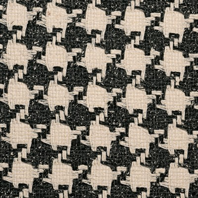 Charcoal and Ecru Houndstooth Multi Wool Tweed Fabric