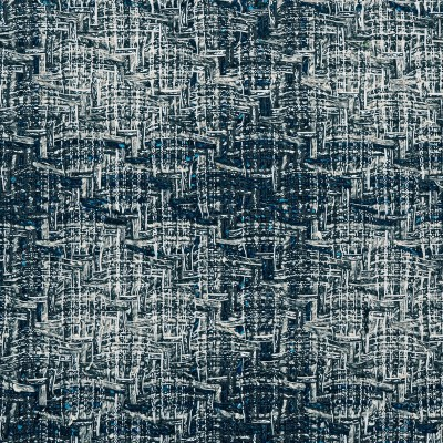 Navy and Silver Sparkle Tweed Fabric