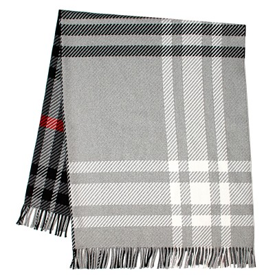 Darcy Lochcarron Graphite Tartan Luxury Superfine Wool Throw
