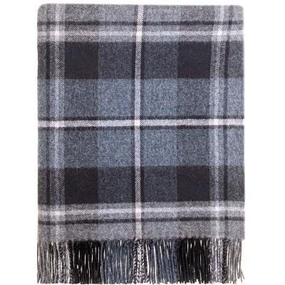 MacRae Hunting Grey Tartan Lambswool Blanket