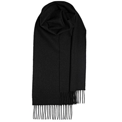Black Plain Coloured Lambswool Scarf