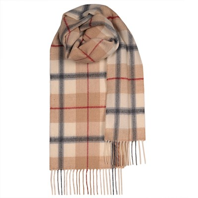 Bowhill Camel Check Lambswool Scarf