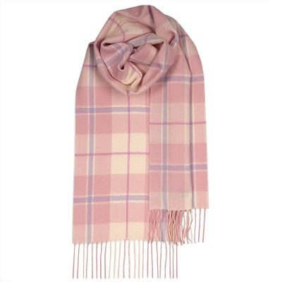 Bowhill Pink White Check Lambswool Scarf