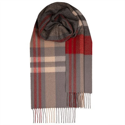 Bowhill Grey Check Lambswool Scarf