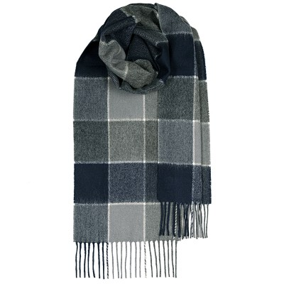 Bowhill Navy Grey Lambswool Scarf