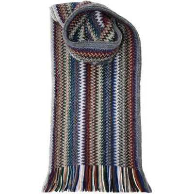 Cappuccino Zig Zag Wool/Angora Knitted Scarf - Front
