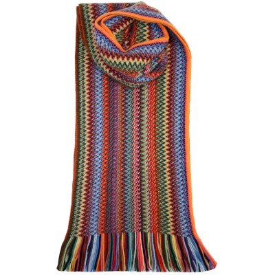 Rachel Zig Zag Wool/Angora Knitted Scarf - Front
