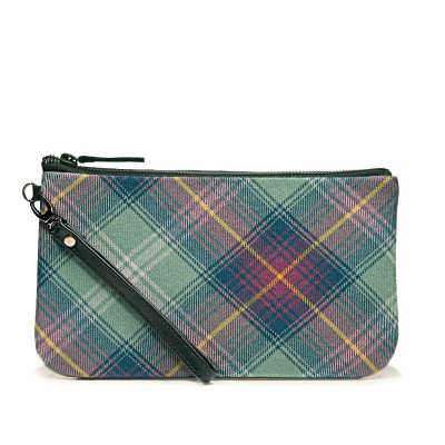 Hame Tartan & Yellow Suede Clutch Bag - Front