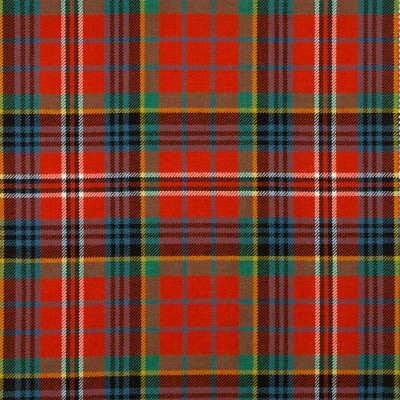 MacPherson Red Ancient Medium Weight Tartan Fabric-Front