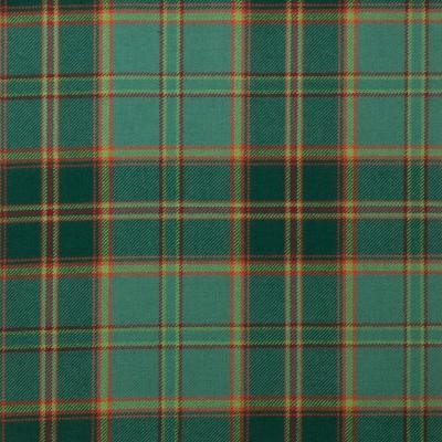All Ireland Green Light Weight Tartan Fabric-Front
