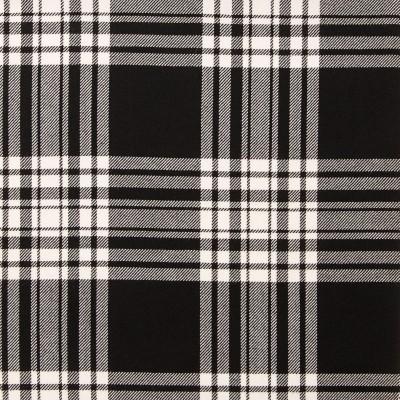 Menzies Black & White Modern Light Weight Tartan Fabric-Front