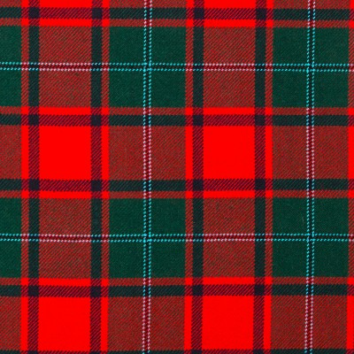 MacPhail Red Modern Heavy Weight Tartan Fabric-Front