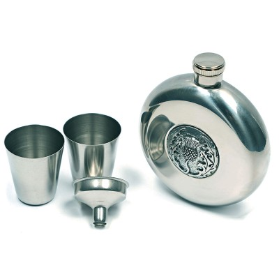 Hip Flask with Thistle Design
