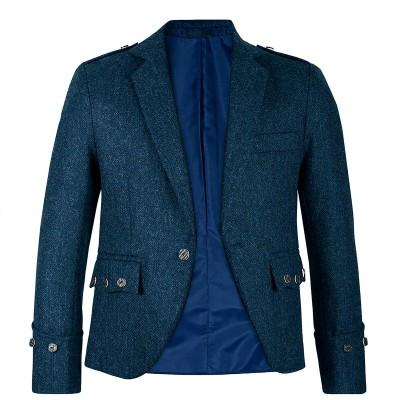Ghillie Blue Shetland Tweed Argyll Kilt Jacket - Front