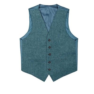 Fishermans Blue Shetland Tweed 5 Button Kilt Waistcoat