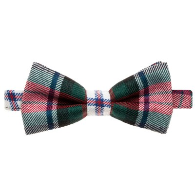 MacDuff Dress Modern Tartan Mens Wool Bow Tie - Front View