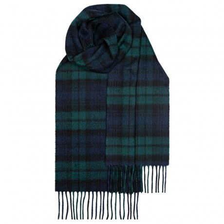 Beau Black Watch Modern Tartan Luxury Cashmere Scarf