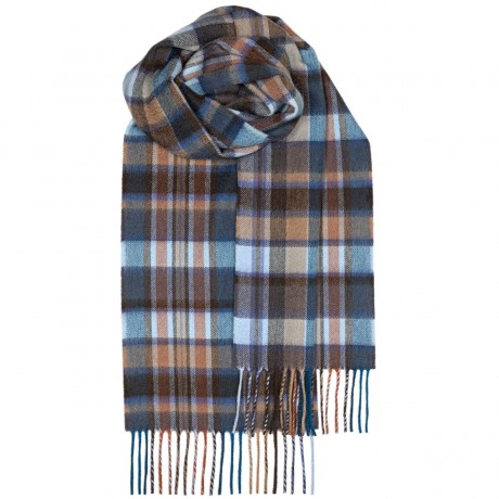 Beau Blue Meadow Check Luxury Cashmere Scarf