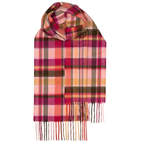 Beau Pink Meadow Check Luxury Cashmere Scarf