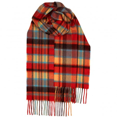 Beau Red Meadow Check Luxury Cashmere Scarf