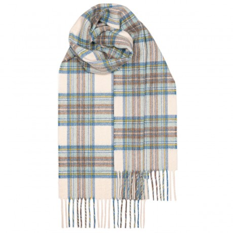 Beau Stewart Blue Dress Tartan Luxury Cashmere Scarf