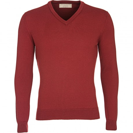 Fitted Mens Merino V-Neck Jumper