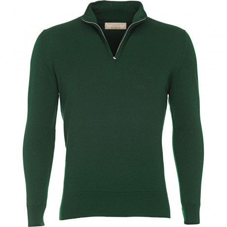 Mens Blended Merino Zip Neck Jumper