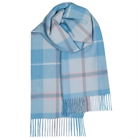 Bailey Blue Check Large Lambswool Scarf