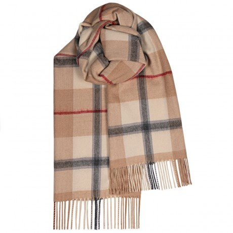 Bailey Camel Check Large Lambswool Scarf