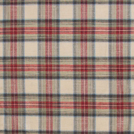 Stewart Dress Weathered Tartan Lightweight Linen Fabric