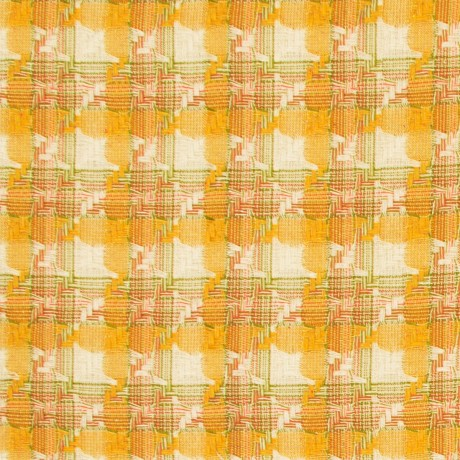 Ochre Check Cotton Tweed Fabric