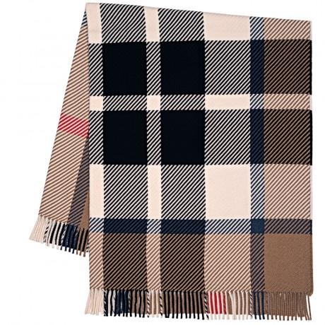 Darcy Thomson Camel Modern Tartan Luxury Superfine Wool Throw