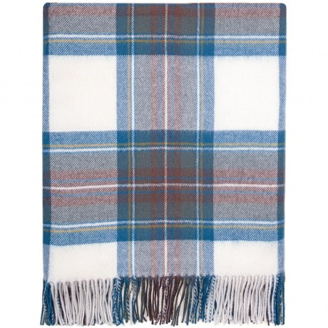 Stewart Blue Dress Tartan Lambswool Blanket