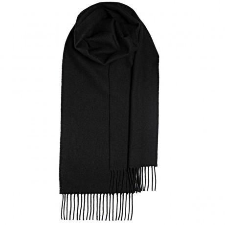 Black Plain Coloured Lambswool Scarf