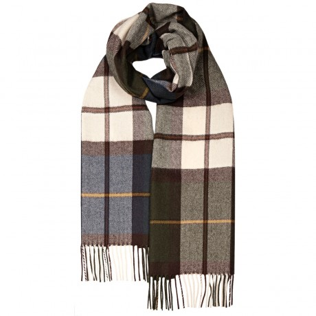 Darwin Olive/Navy Luxury Oversized Lambswool Scarf