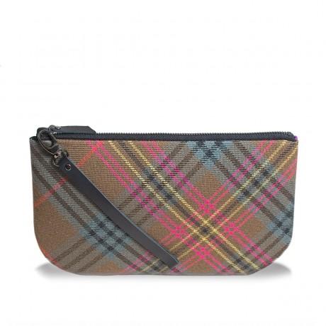 Kennedy Weathered Tartan & Purple Suede Small Clutch Purse / Handbag