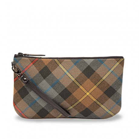 Smith Weathered Tartan & Yellow Suede Clutch Bag